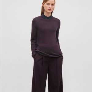 COS Contrast Collar Merino Wool Top Plum and Navy